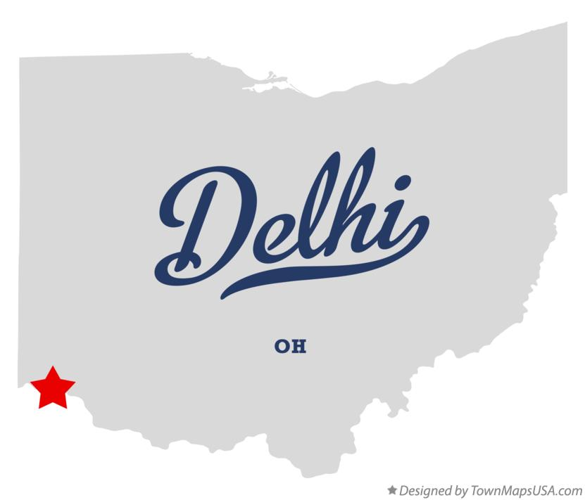 Map of Delhi Ohio OH