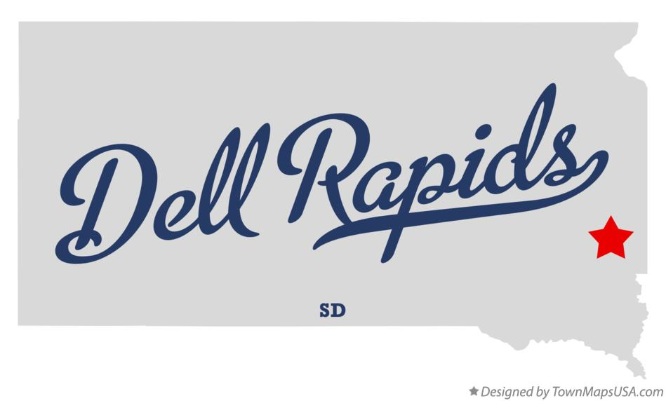 Map of Dell Rapids South Dakota SD