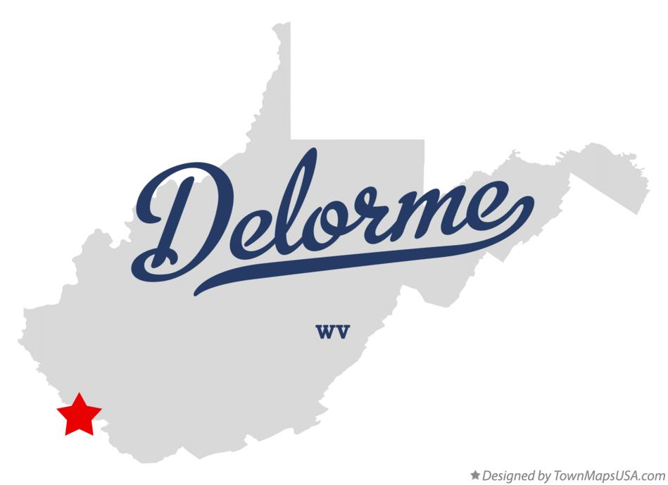 Map of Delorme West Virginia WV