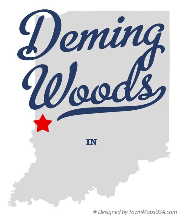 Map of Deming Woods Indiana IN
