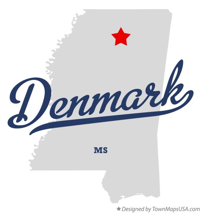 Map of Denmark Mississippi MS