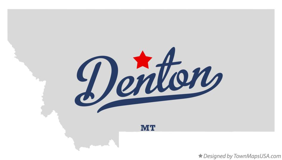 Map of Denton Montana MT