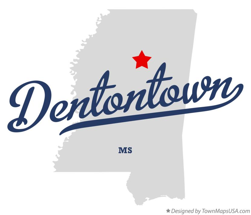 Map of Dentontown Mississippi MS