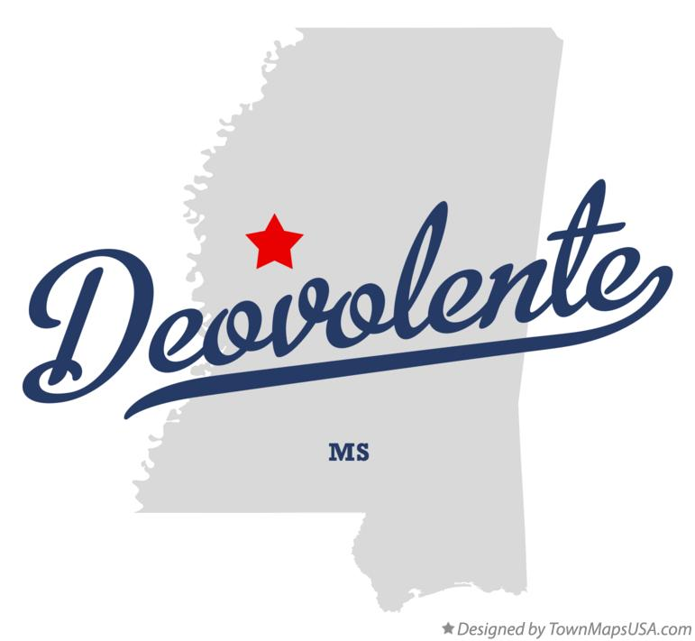 Map of Deovolente Mississippi MS