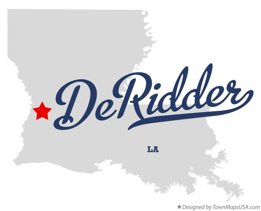 Map of DeRidder Louisiana LA