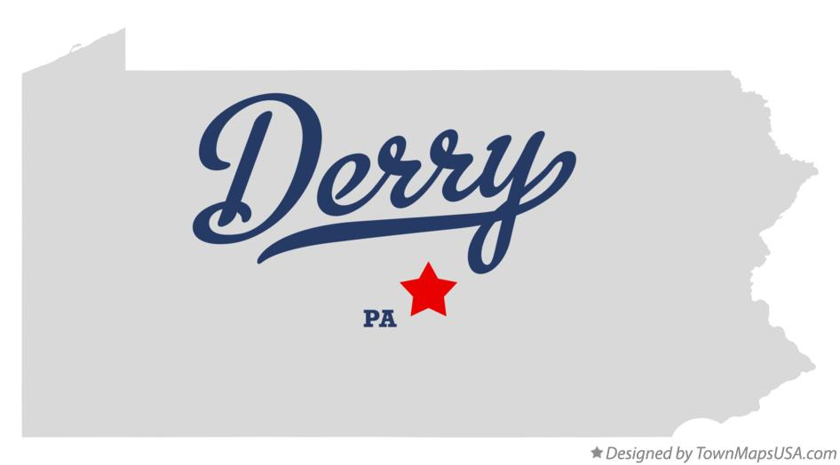 Map of Derry Pennsylvania PA