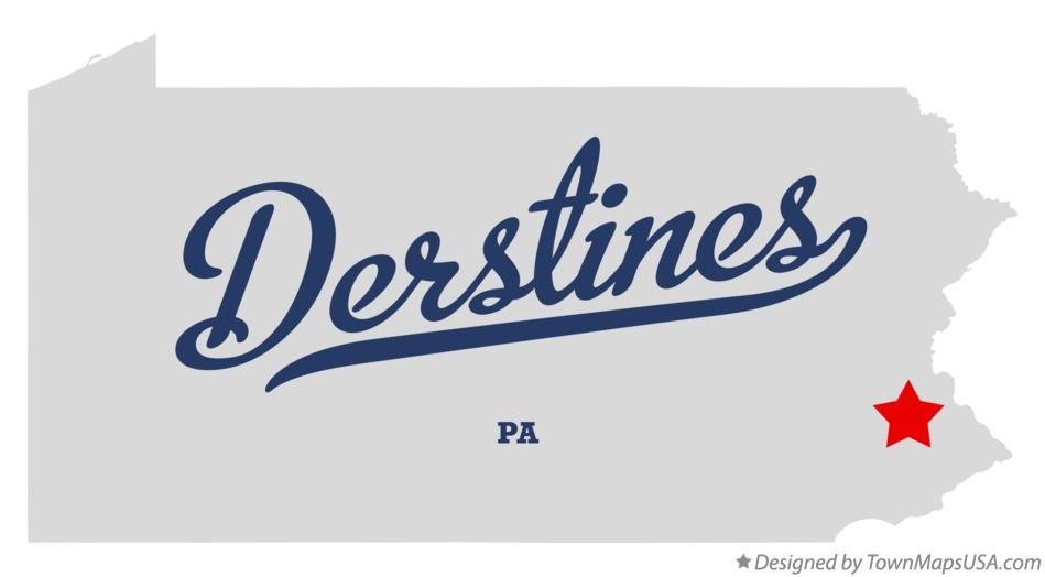 Map of Derstines Pennsylvania PA