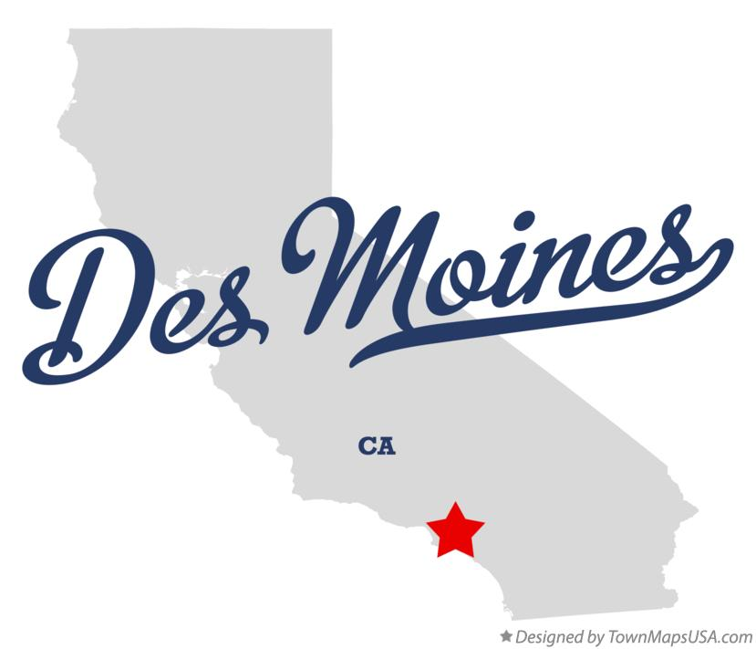 Map of Des Moines California CA