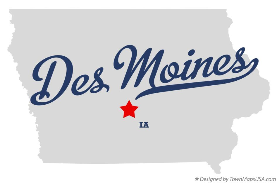 Map of Des Moines, Polk County, IA, Iowa