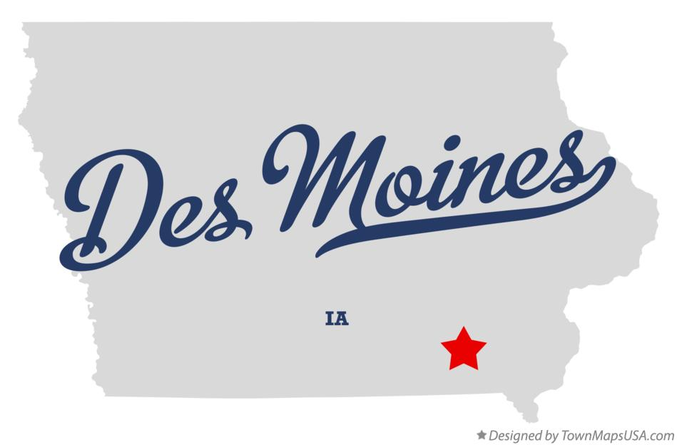 Map of Des Moines Iowa IA