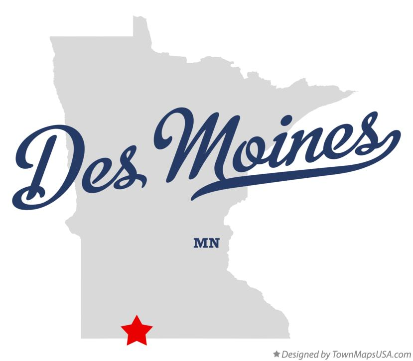 Map of Des Moines Minnesota MN