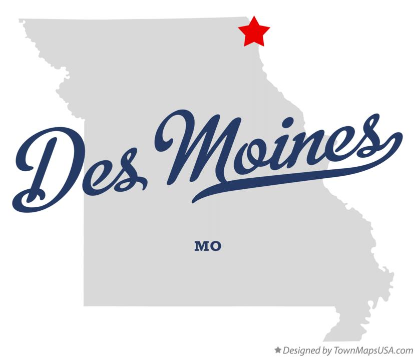 Map of Des Moines Missouri MO