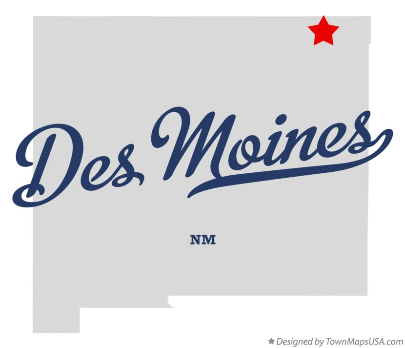 Map of Des Moines New Mexico NM