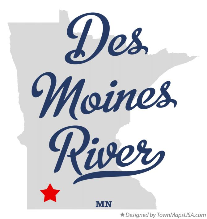 Map of Des Moines River Minnesota MN