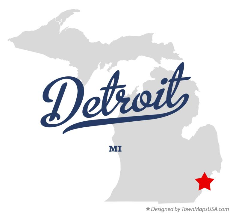 Map of Detroit, MI, Michigan