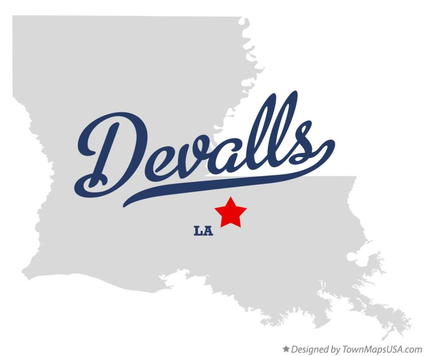 Map of Devalls Louisiana LA
