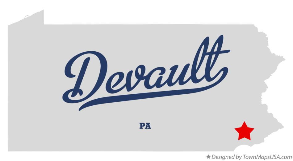 Map of Devault Pennsylvania PA