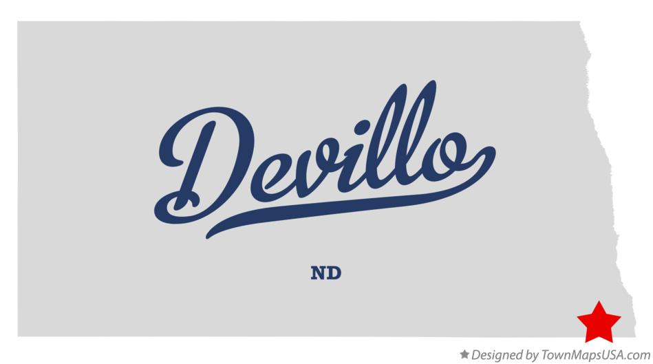 Map of Devillo North Dakota ND