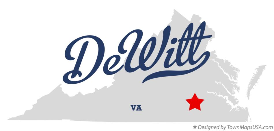Map of DeWitt Virginia VA