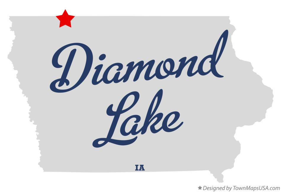 Map of Diamond Lake Iowa IA