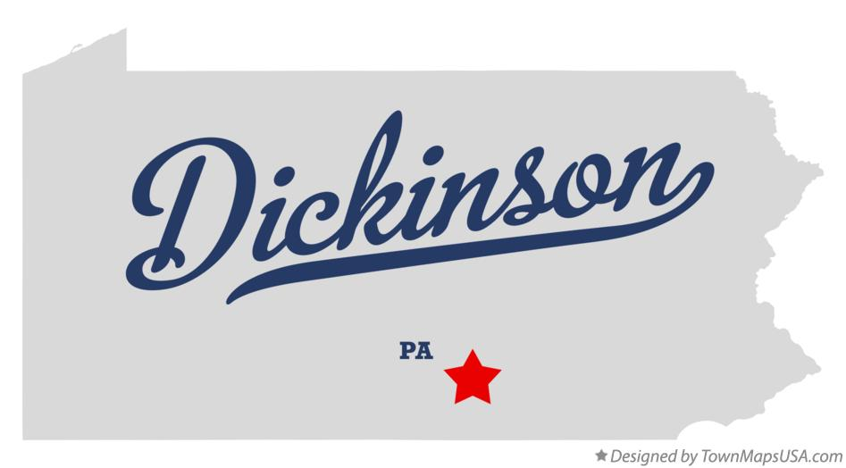 Map of Dickinson Pennsylvania PA
