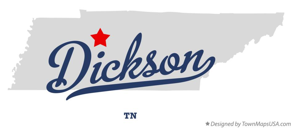 Map of Dickson Tennessee TN