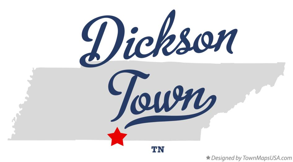 Map of Dickson Town Tennessee TN