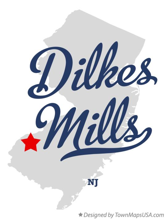 Map of Dilkes Mills New Jersey NJ