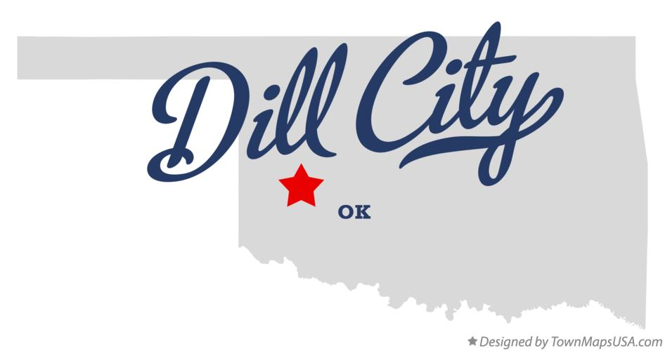 Map of Dill City Oklahoma OK