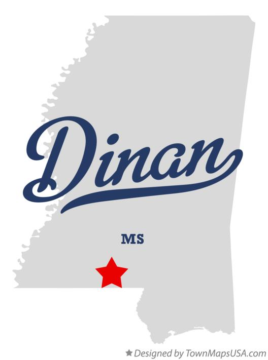 Map of Dinan Mississippi MS