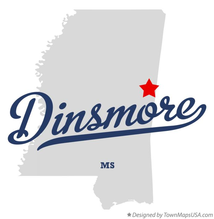 Map of Dinsmore Mississippi MS