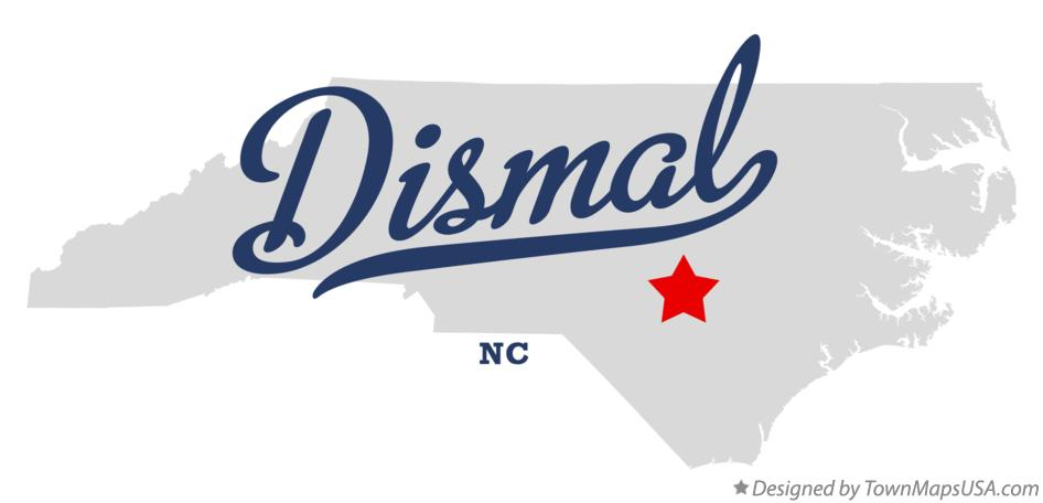 Map of Dismal North Carolina NC