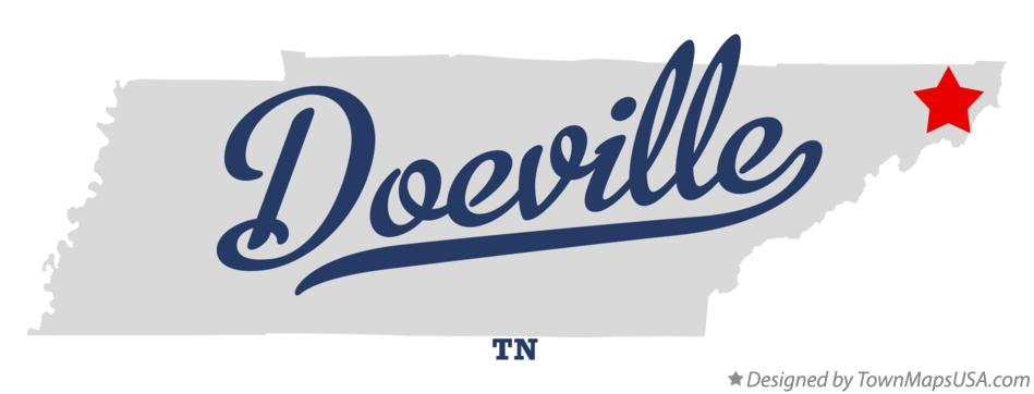 Map of Doeville Tennessee TN