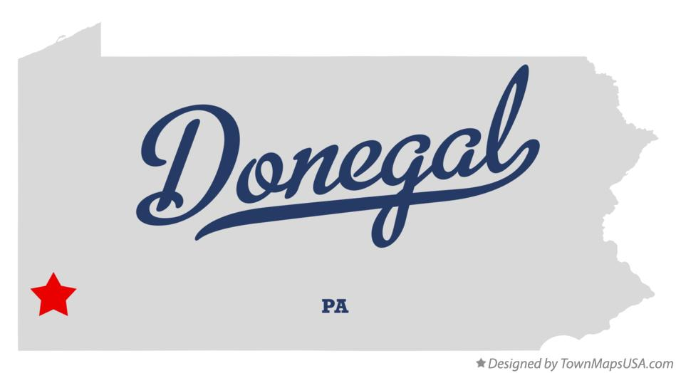 Map of Donegal Pennsylvania PA