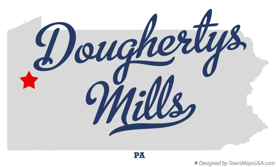 Map of Doughertys Mills Pennsylvania PA
