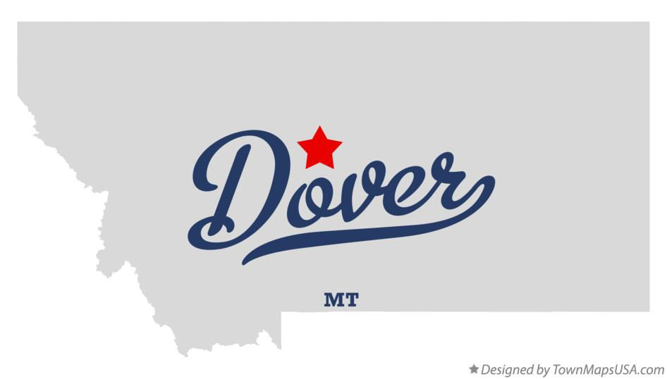 Map of Dover Montana MT