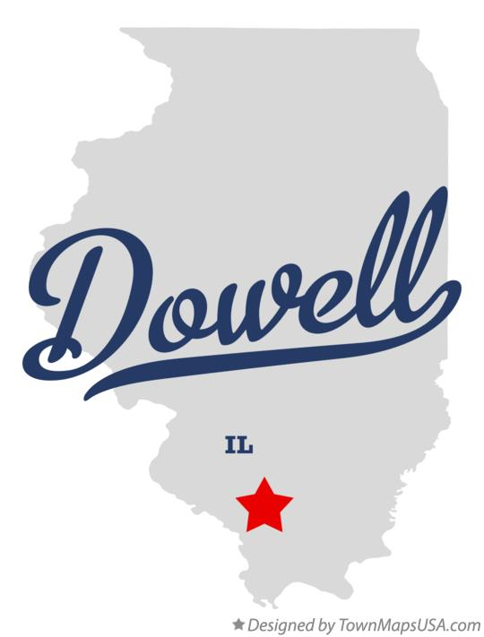 Map of Dowell Illinois IL