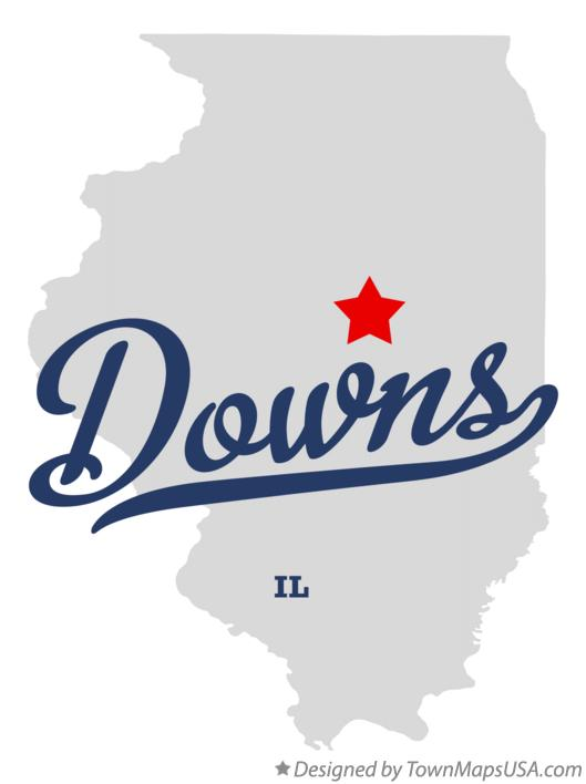 Map of Downs Illinois IL