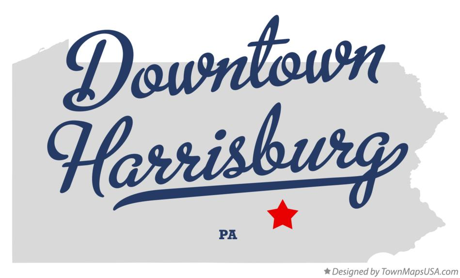 Map of Downtown Harrisburg Pennsylvania PA