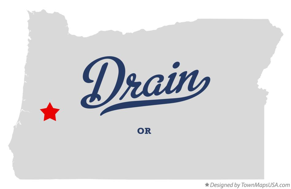 Map of Drain Oregon OR