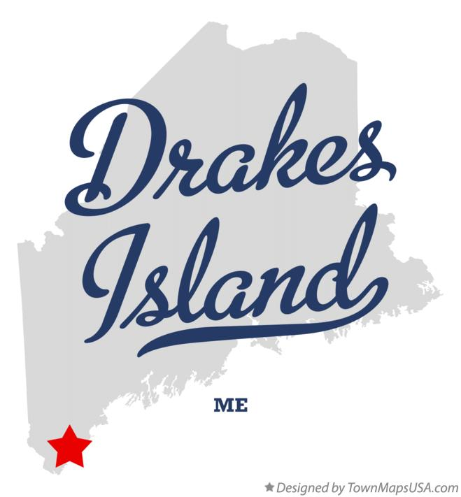 Map of Drakes Island Maine ME