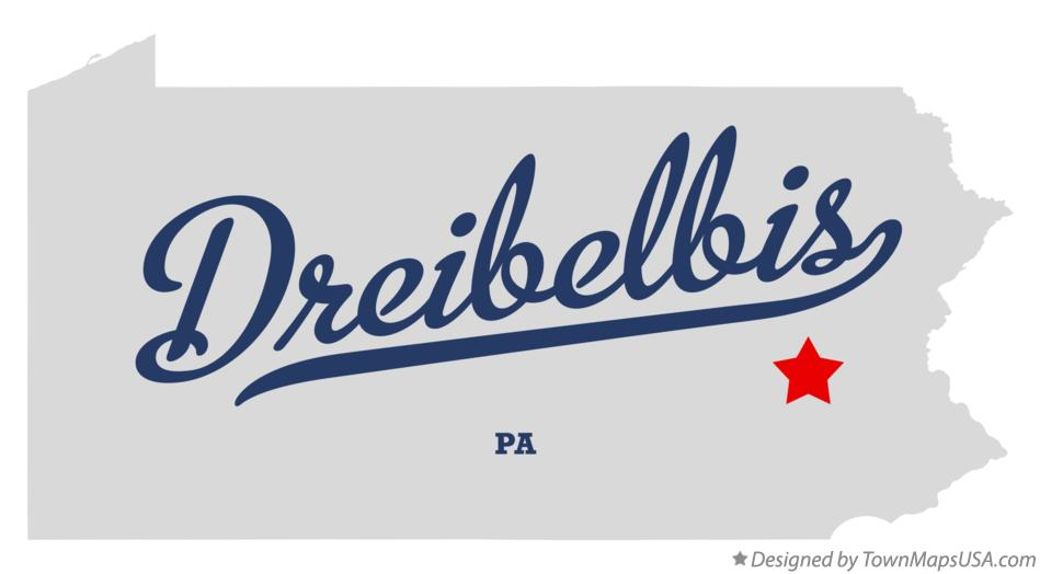 Map of Dreibelbis Pennsylvania PA