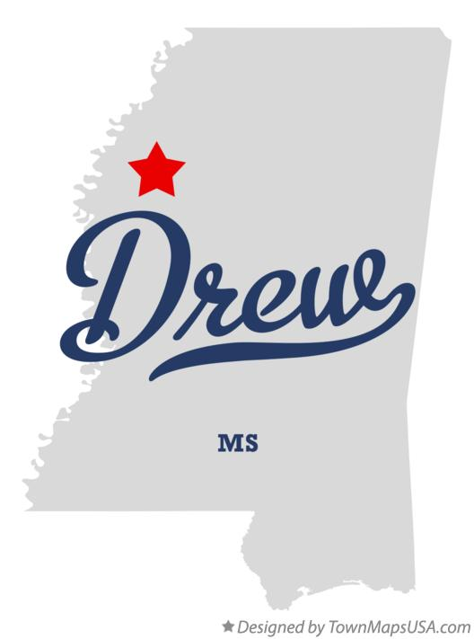 Map of Drew Mississippi MS
