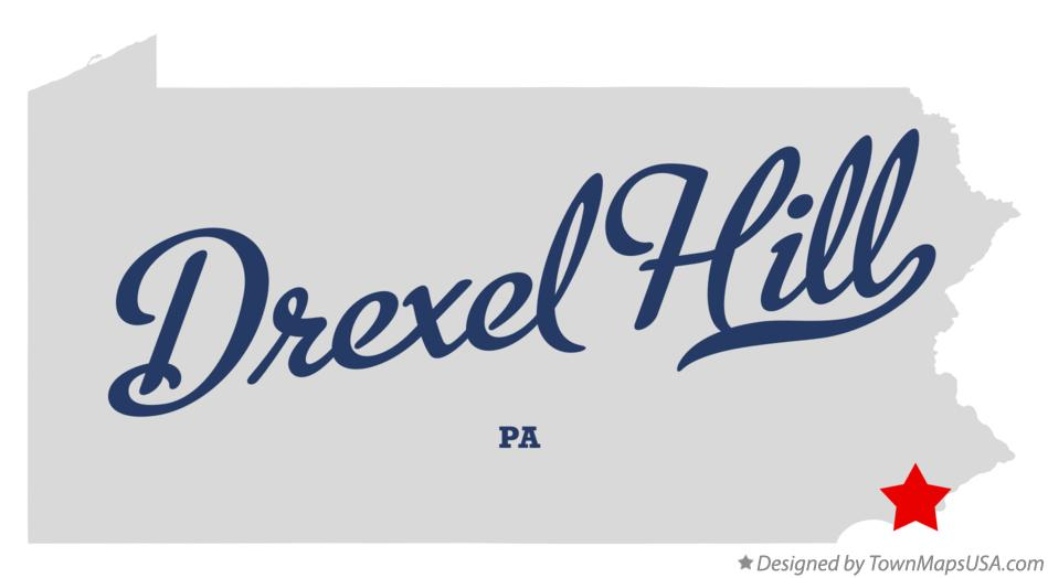 Map of Drexel Hill PA Pennsylvania