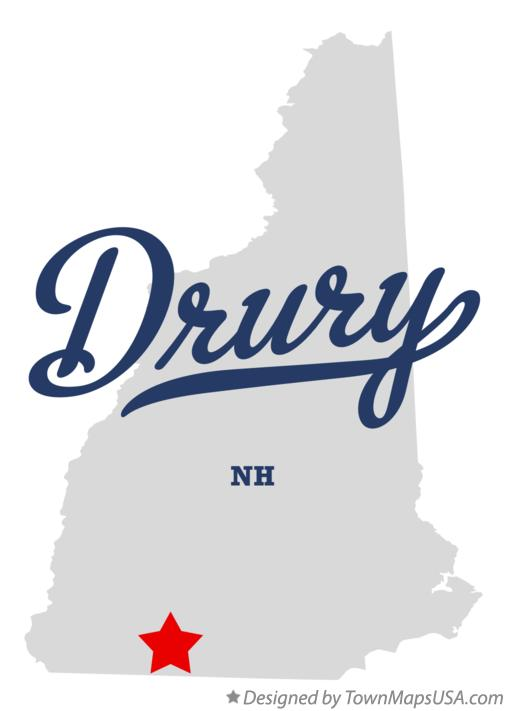 Map of Drury New Hampshire NH