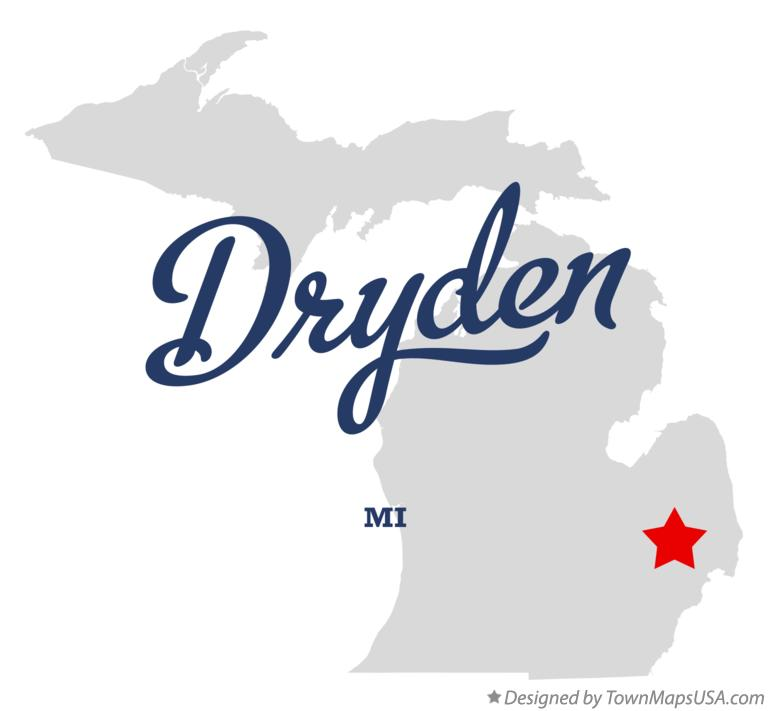 Map of Dryden Michigan MI