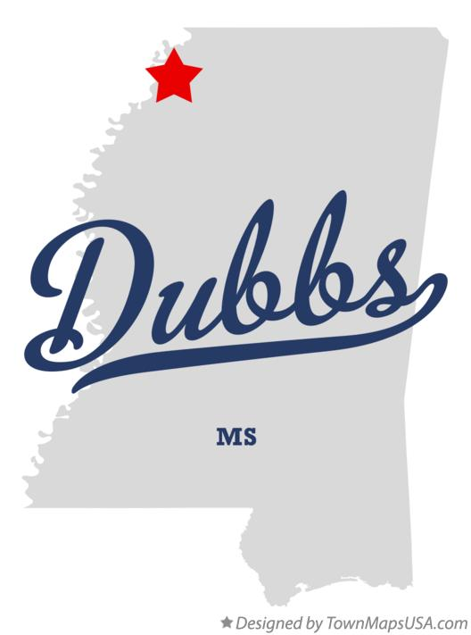 Map of Dubbs Mississippi MS