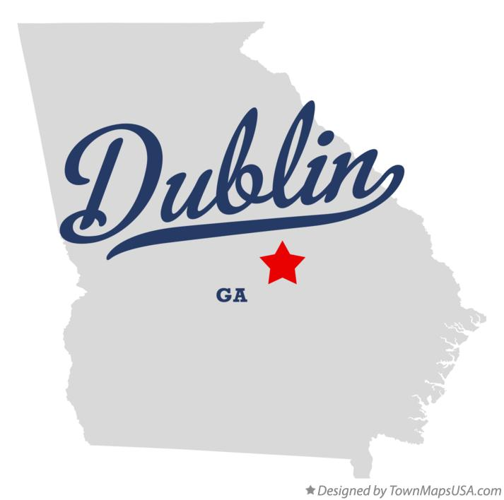 Map of Dublin Georgia GA