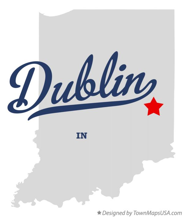 Map of Dublin Indiana IN