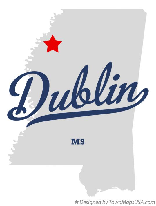 Map of Dublin Mississippi MS